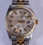 A BOXED ROLEX TWO TONE OYSTER DATE JUST WRISTWATCH. 3.5 cm wide, strap 15 cm long inc clasp.