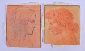 Continental School (18th/19th Century) Sketches, Pair. Images 9 cm x 12 cm. (2)