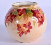 Royal Worcester spirally moulded globular vase painted unusually painted with a flowering vine by Ki
