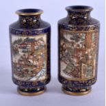 A FINE MINIATURE PAIR OF 19TH CENTURY JAPANESE MEIJI PERIOD SATSUMA VASES painted with figures. 6.75
