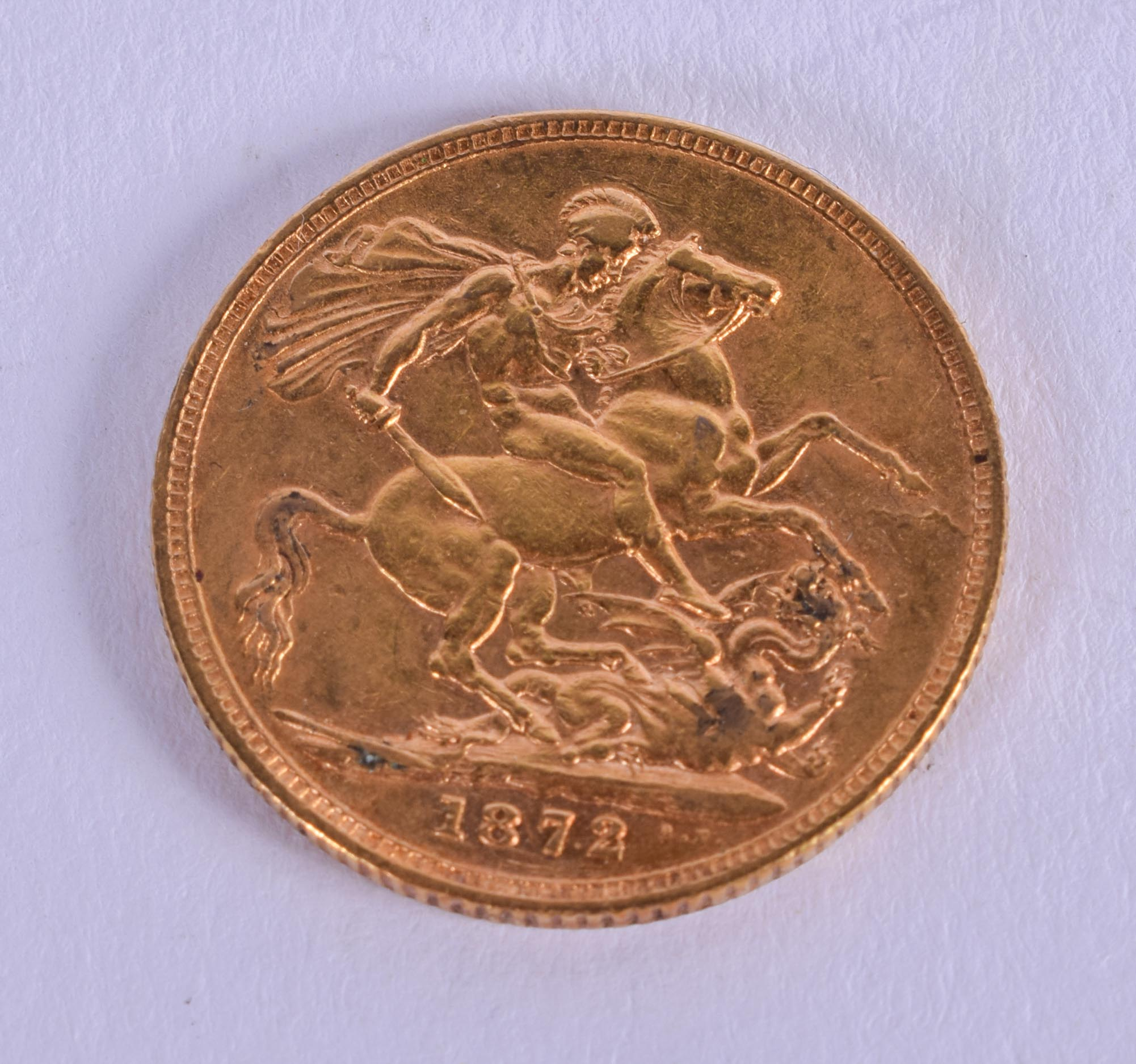 AN 1872 VICTORIAN GOLD SOVEREIGN. 8 grams. - Image 2 of 2