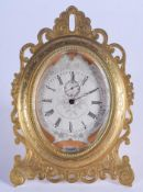 A FINE MID 19TH CENTURY FRENCH ORMOLU STRUT CLOCK in the manner of Thomas Cole, engraved with silver