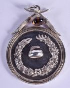 A LOVELY 19TH CENTURY SCOTTISH SILVER CURLING MEDALLION C1892 Presented to Sir Arthur Mackensie. 64