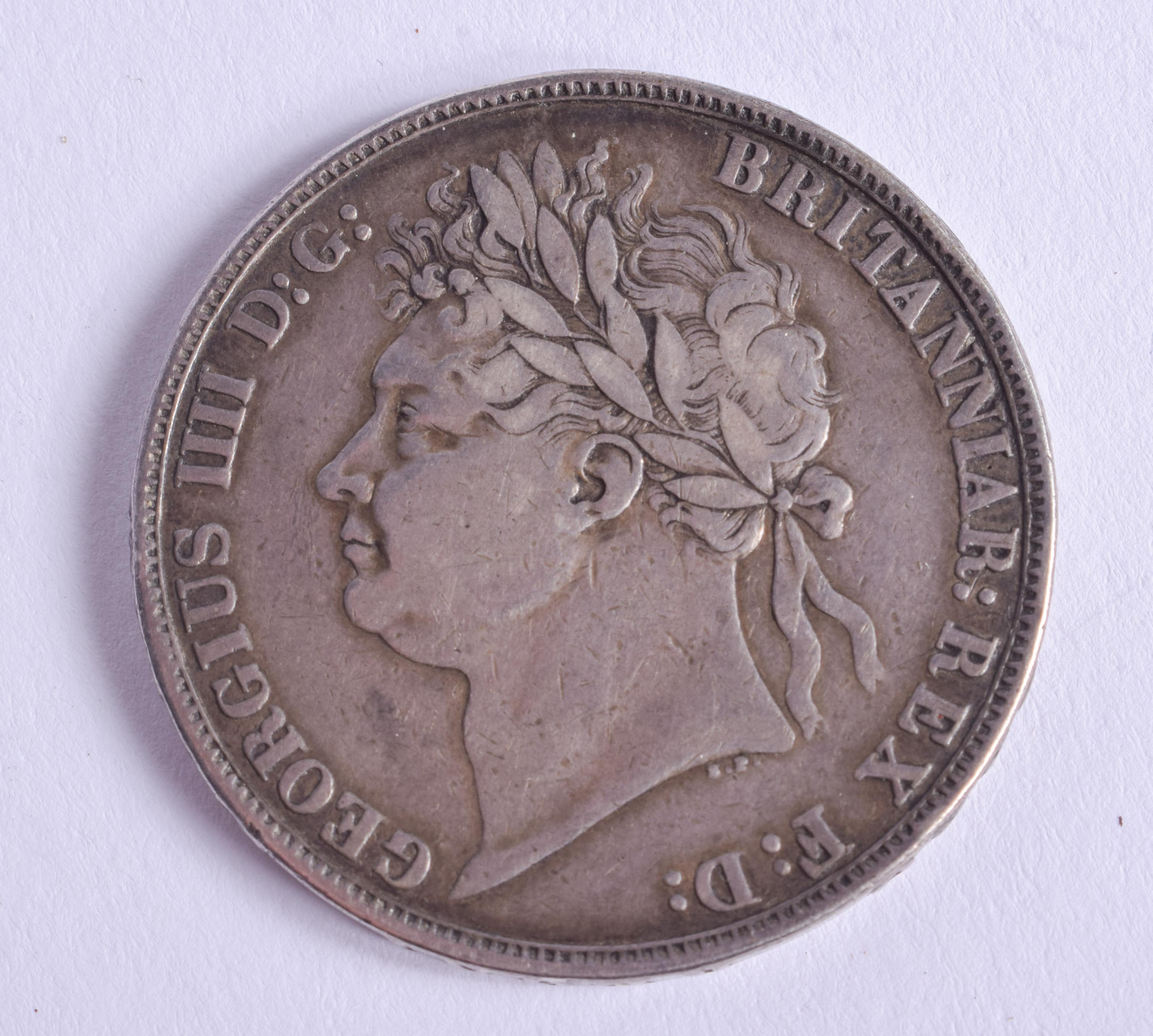 A GEORGE IV 1821 SILVER CROWN. - Image 2 of 2