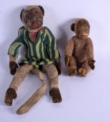 A RARE 1940 NORAH WELLING MONKEY DOLL together with a vintage Merrythought monkey. (2)