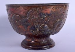 A 19TH CENTURY JAPANESE MEIJI PERIOD SPELTER OVERLAID LEAD BOWL. 17 cm x 12 cm.
