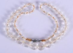 A CRYSTAL NECKLACE. 42 cm long.