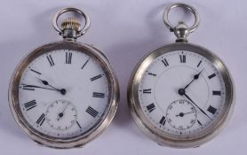 AN ANTIQUE SILVER POCKET WATCH and another plated watch. Largest 5.25 cm diameter. (2)