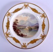 Late 19th c. Derby King Street plate painted with a loch scene with ruins and swans by Edwin Prince