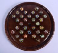 ANTIQUE SOLITAIRE MARBLE BOARD. Marble 1.5 cm wide. (qty)