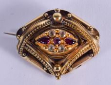 A FINE VICTORIAN 15CT GOLD DIAMOND AND AMETHYST MOURNING BROOCH. 13 grams. 4 cm x 3.25 cm.