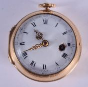 A GOOD ANTIQUE 18CT GOLD HALF HUNTER POCKET WATCH. 89.8 grams overall. 4.5 cm wide.