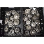 A COLLECTION OF ANTIQUE PEWTER TEAPOTS in various forms and sizes. Largest 17 cm wide. (qty)