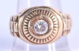 A 9CT GOLD ROLEX STYLE GEM SET RING. S. 8.6 grams.