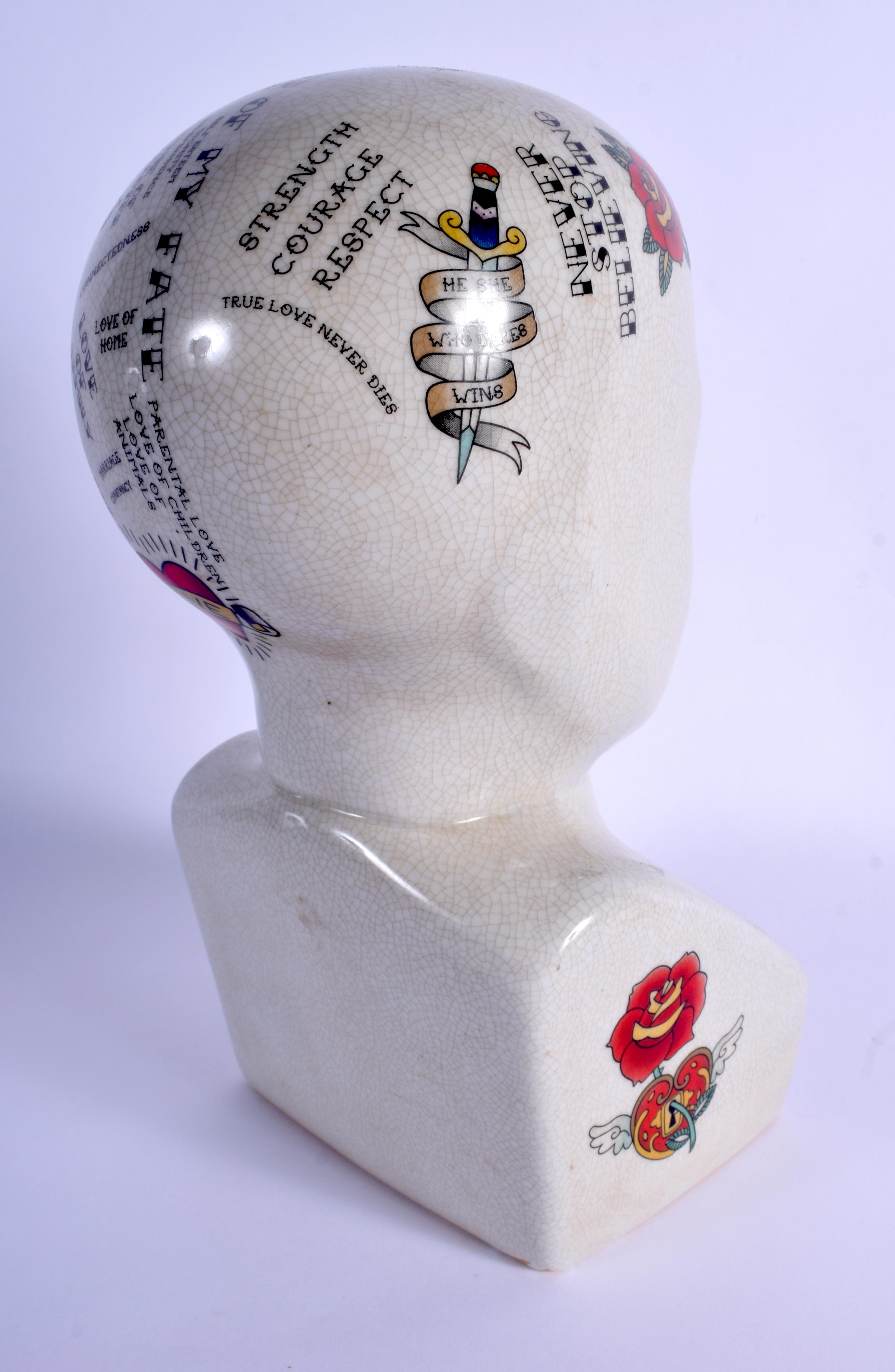 A PHRENOLOGY MOUSTACHE HEAD. 30 cm x 14 cm. - Image 2 of 3