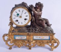 A 19TH CENTURY FRENCH SEVRES PORCELAIN AND BRONZE MANTEL CLOCK. 26 cm x 24 cm.