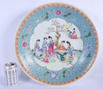 A LARGE CHINESE REPUBLICAN PERIOD FAMILLE ROSE CHARGER painted with geisha within landscapes. 36 cm