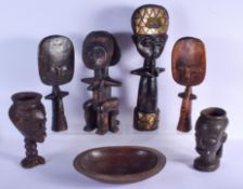AN EARLY 20TH CENTURY AFRICAN TRIBAL DOGON CARVED WOOD BOWL together with kuia drinking cups etc. La