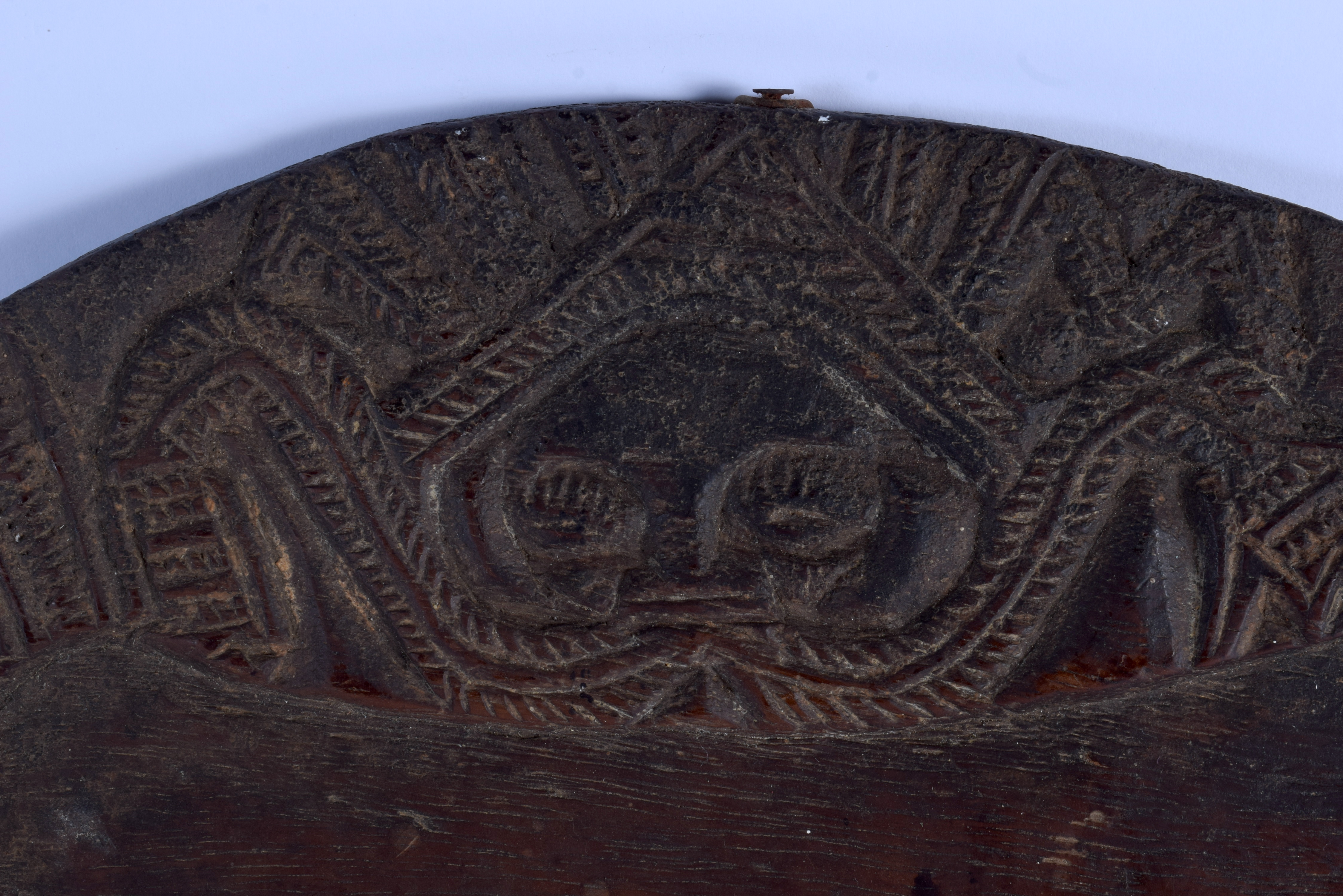 AN AFRICAN TRIBAL DIVINATION CARVED WOOD PLATE. 40 cm x 43 cm. - Image 2 of 3