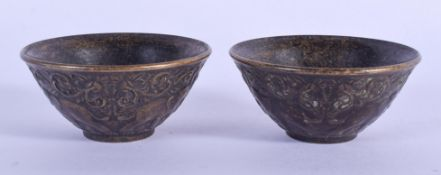 TWO CHINESE BRONZE BOWLS 20th Century. 5.5 cm diameter. (2)