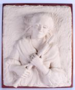 A LARGE MID 20TH CENTURY CARVED PLASTER POTTERY WALL PLAQUE modelled as a pipe player. 62 cm x 42 cm