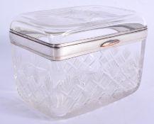 AN ANTIQUE CRYSTAL GLASS CASKET. 12 cm x 9 cm.