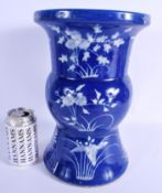 A LARGE 19TH CENTURY CHINESE BLUE AND WHITE ENAMELLED VASE Qing. 33 cm x 15 cm.
