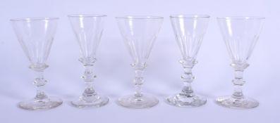 FIVE ANTIQUE GLASSES. 12.5 cm high. (5)