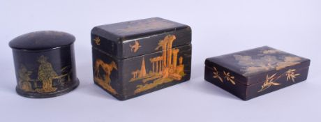 THREE ANTIQUE JAPANESE EXPORT BOXES. Largest 10 cm x 7 cm. (3)