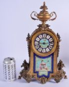 A 19TH CENTURY FRENCH ORMOLU SEVRES PORCELAIN MANTEL CLOCK painted with flowers. 37 cm x 11 cm.