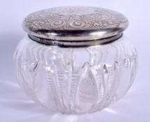 A VINTAGE SILVER TOPPED DRESSING TABLE JAR. 9.5 cm wide.