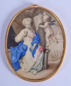 AN 18TH CENTURY CONTINENTAL IVORY PIQUE WORK MINIATURE painted with a cherub and female within a tem