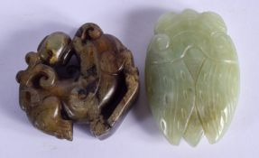 A CHINESE JADE CICADA FLY together with a hardstone beast. (2)