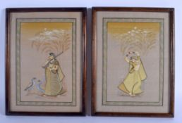 A PAIR OF EARLY 20TH CENTURY INDIAN PAINTED WATERCOLOURS. Image 27 cm x 20 cm.