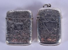 TWO ANTIQUE ENGLISH SILVER VESTA CASES. 42 grams. (2)