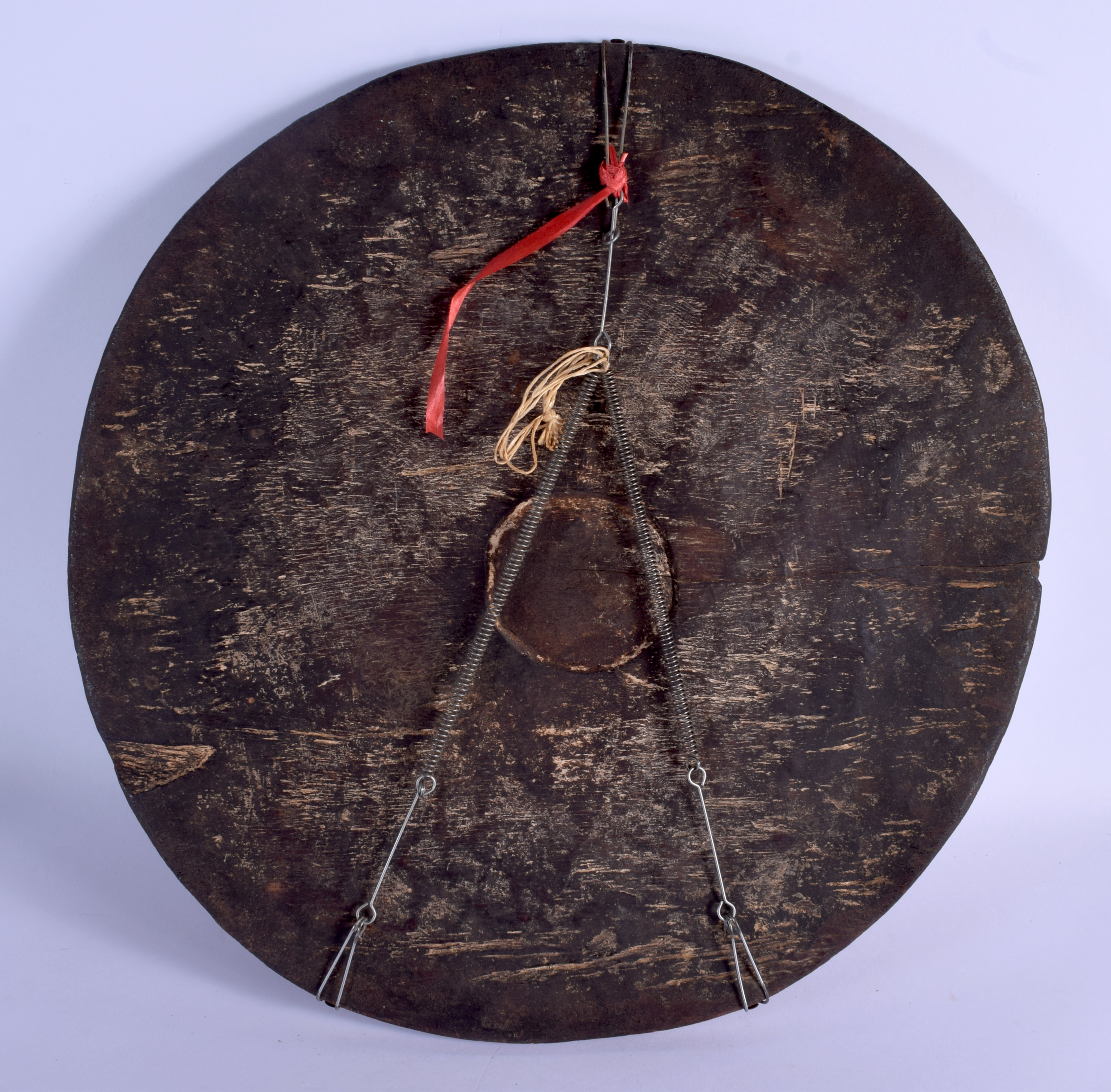AN AFRICAN TRIBAL DIVINATION CARVED WOOD PLATE. 40 cm x 43 cm. - Image 3 of 3