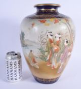 A LARGE 19TH CENTURY JAPANESE MEIJI PERIOD SATSUMA VASE in the manner of Kinkozan, painted with geis
