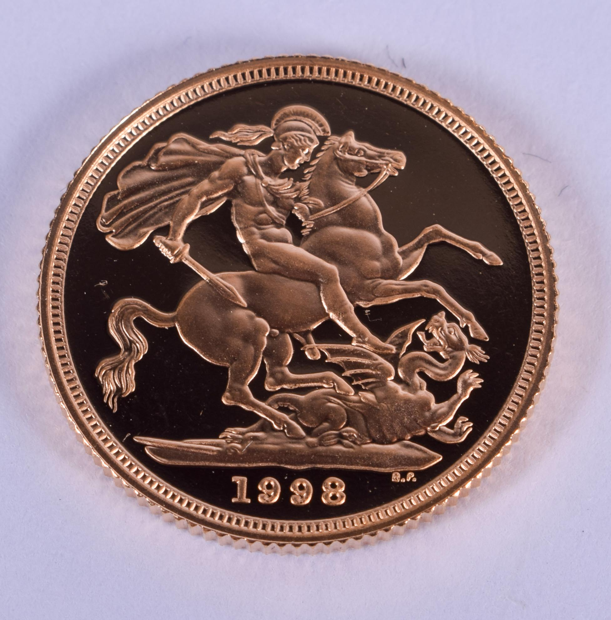 A BOXED 1998 PROOF SOVEREIGN. 2 cm diameter. - Image 3 of 3