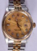 A BOXED ROLEX TWO TONE DIAMOND EMBELLISHED DATE JUST WRISTWATCH. 3.5 cm wide, strap 15 cm inc clasp