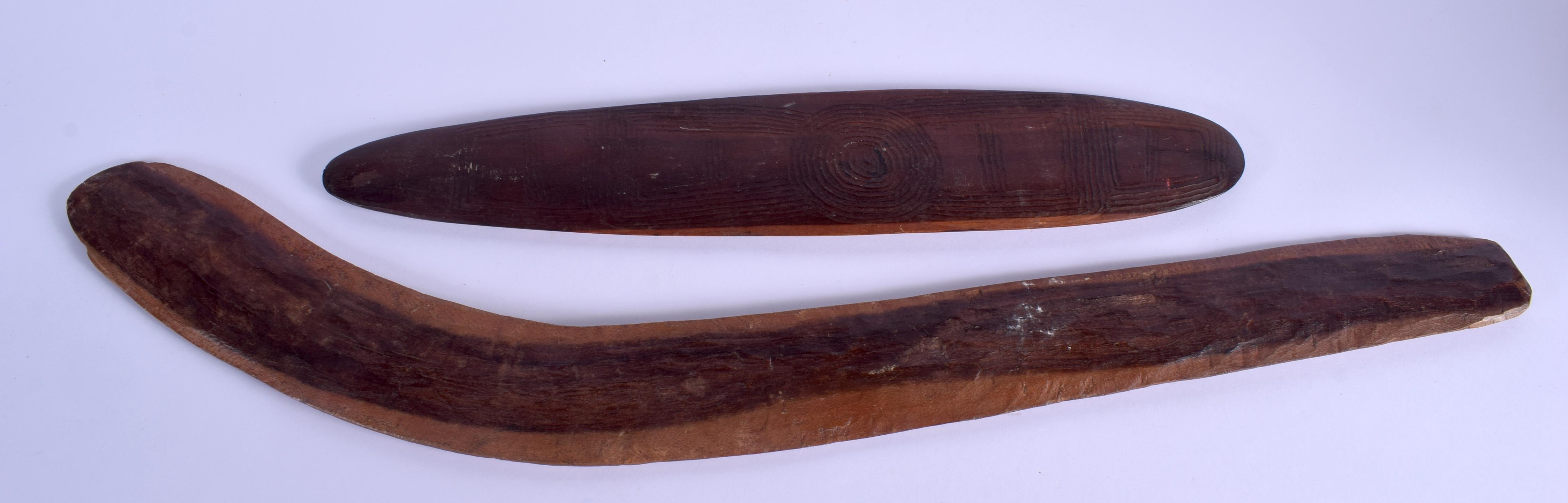 TWO TRIBAL ABORIGINAL BOOMERANGS. Largest 66 cm long. (2) - Image 2 of 2