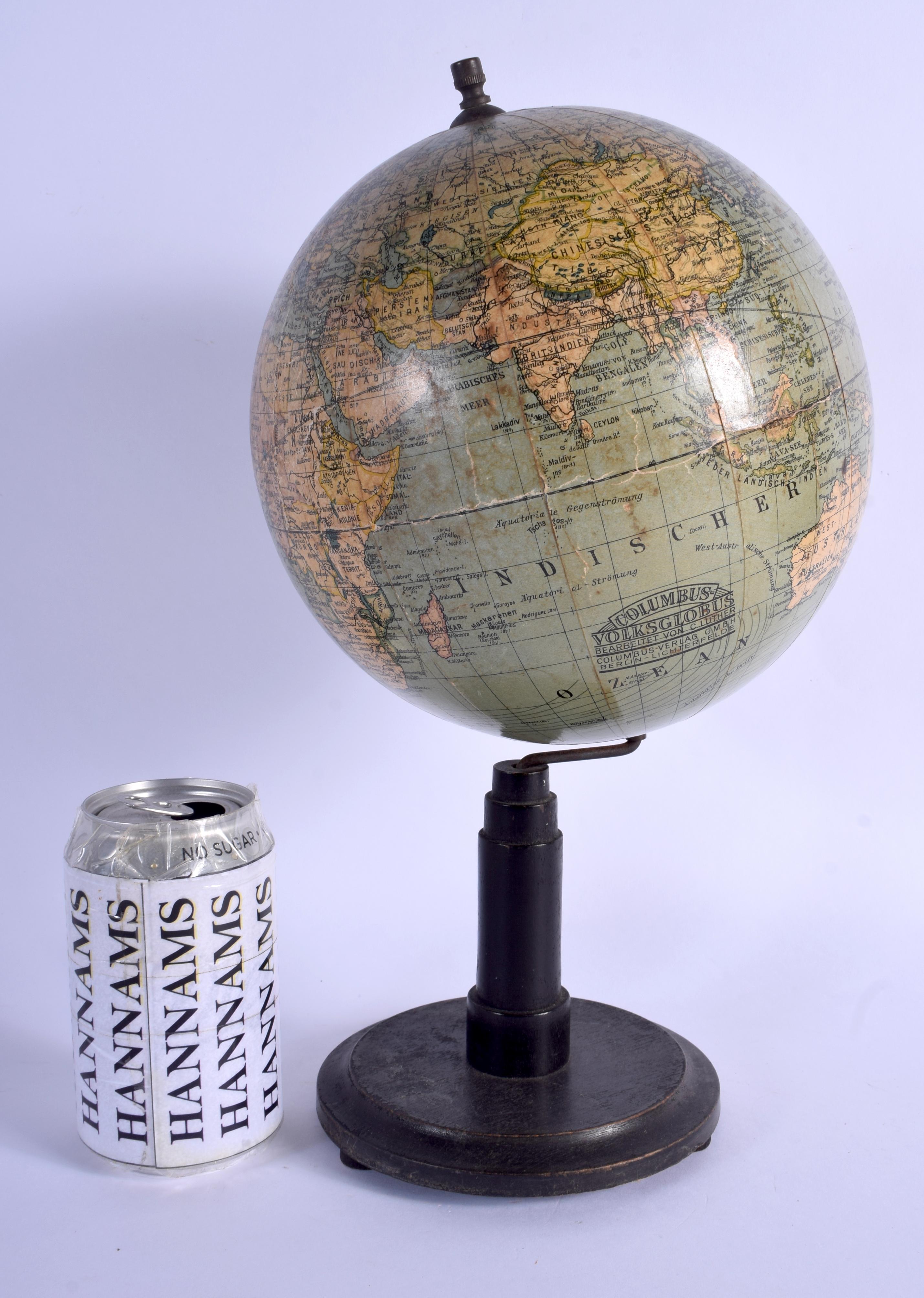 A VINTAGE COLUMBUS VOLKSGLOBUS GLOBE. 33 cm x 16 cm.