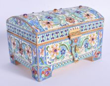 A CONTINENTAL SILVER AND ENAMEL JEWELLED CASKET. 524 grams. 12 cm x 8 cm .