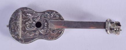 AN ANTIQUE CONTINENTAL SILVER GUITAR. 33 grams. 9 cm long.