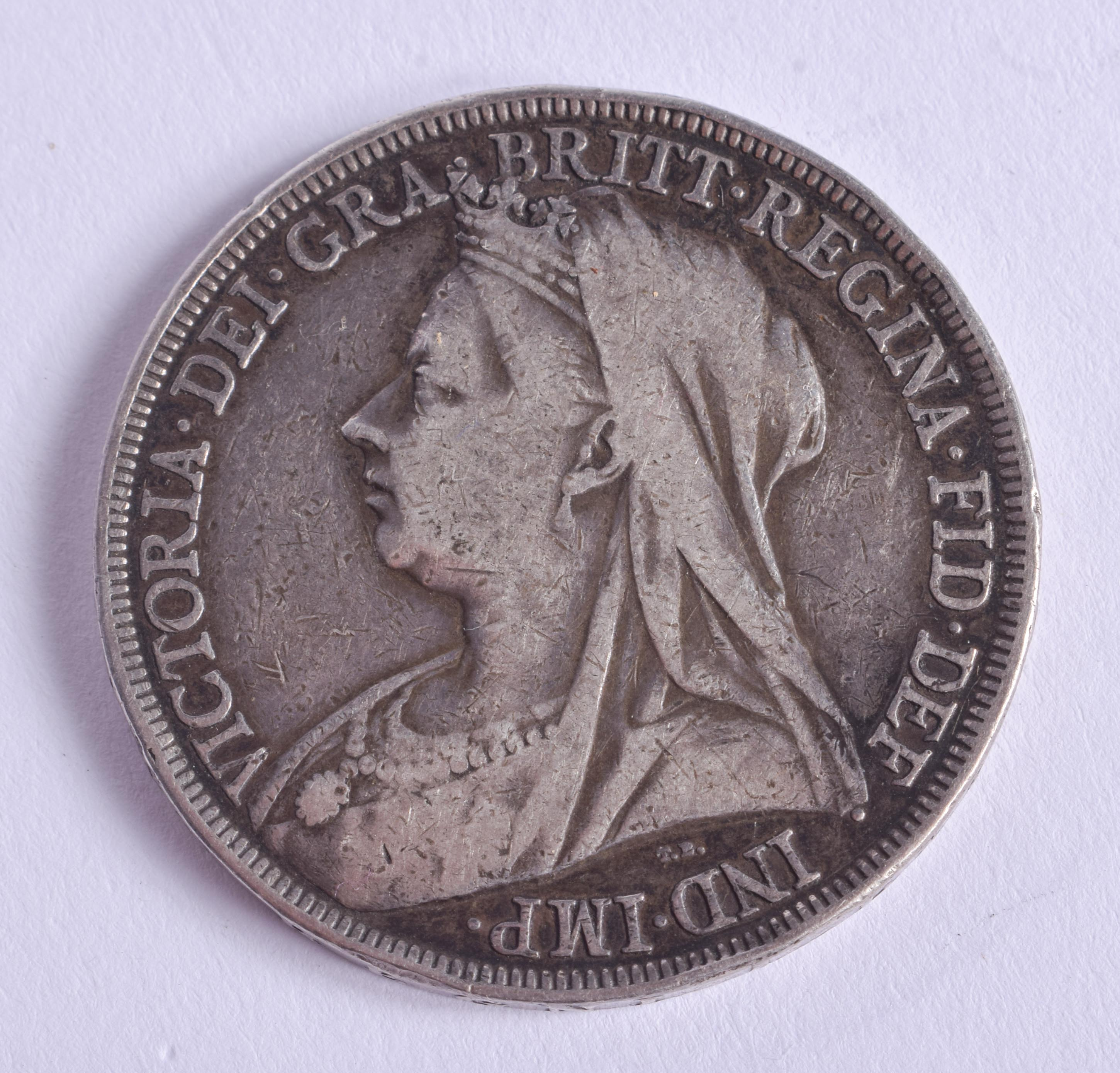 A VICTORIAN 1897 SILVER CROWN. - Image 2 of 2