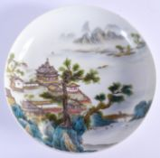 A CHINESE FAMILLE ROSE PORCELAIN SAUCER DISH 20th Century, bearing Yongzheng marks to base, painted