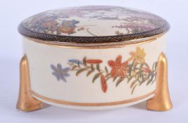 A 19TH CENTURY JAPANESE MEIJI PERIOD SATSUMA BOX AND COVER painted with birds and hanging wisteria.