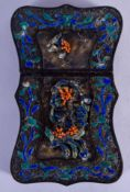 A RARE 19TH CENTURY CHINESE SILVER ENAMEL AND CORAL CARD CASE. 46 grams. 10 cm x 6 cm.