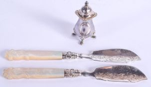 A PAIR OF VICTORIAN SILVER BLADED KNIVES and a plated condiment. Sheffield 1846 & 1848. (3)