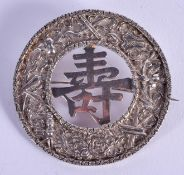 AN ANTIQUE CHINESE SILVER BROOCH. 25 grams. 6 cm diameter.