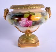 Royal Worcester two handled pedestal vase painted with Hadley style roses date 1908, shape 1960 (Thi